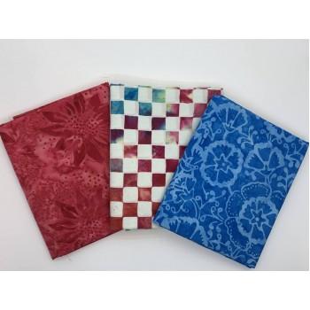 Batik Half Yard Bundle HY345 - Red Blue White - 1.5 Yards Total