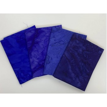 Four Batik Fat Quarters 403A - Blue Tone Blenders