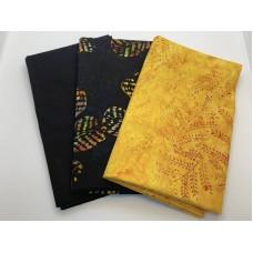 3 Yard Batik Bundle 3YD109 - Amber, Multicolor, Black