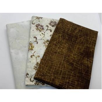 3 Yard Batik Bundle 3YD102 - Brown, Cream, Tan