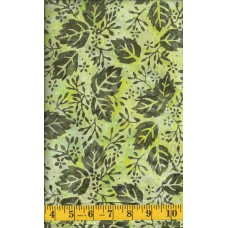 Clothworks Batik FB005-23 - Brown Leaf Clusters on a Yellow Green Background