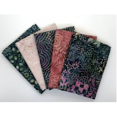 Batik Half Yard Bundle HY517 - Greens and Pinks - 2 1/2 Yards Total