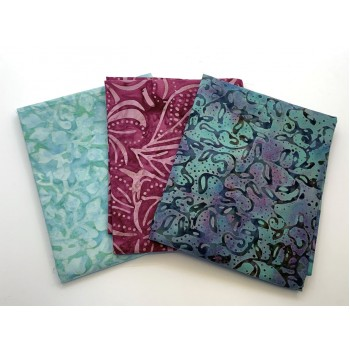 Three Batik Fat Quarters 373B - Turquoise and Red Tones