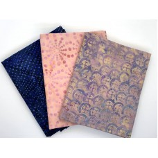 Batik Half Yard Bundle HY357 - Pinks Blues - 1.5 Yards Total