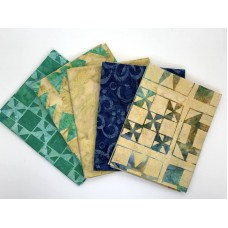 Five Batik Fat Quarters 562 - Turquoise Tan Blue Tones