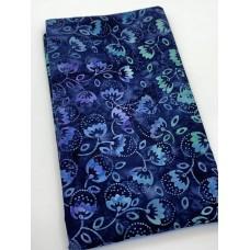 BOLT END - Benartex Batik 09158-51 - Turquoise Flowers on Navy - 1 yd