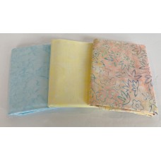 Batik Half Yard Bundle HY316 - Pastel Peach, Yellow & Blue Tones - 1 1/2 Yards Total