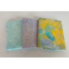 Batik Half Yard Bundle HY326 - Yellow, Aqua & Purple Tones - 1 1/2 Yards Total