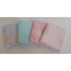 Batik Half Yard Bundle HY408 - Pastel Pink/Aqua/Lavender Tones - 2 Yards Total