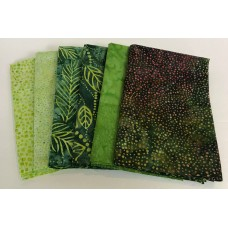 Batik Half Yard Bundle HY619 - Green Tones - 3 Yards Total