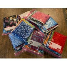 """Scrap Bags of Batiks - 40 pcs - most pieces are 3-5"""" x 10-11"""" - around 1 yard total fabric by weight"""