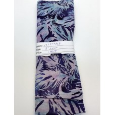 REMNANT - Island Batik 121922868 -Light Purple Turquoise Feathers on Dark Blue Purple - 8 INCH BY WOF