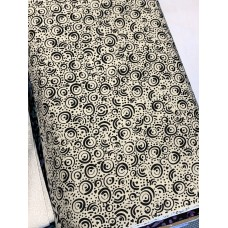 Banyan Batik 81203-990 Black on White Cream Circles Print