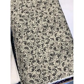 Banyan Batik 81203-990 Black on White Cream Circles Print