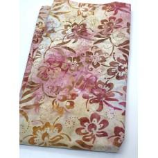 BOLT END - Anthology Batik 12028 -Pink Flowers on Cream - 20 Inches