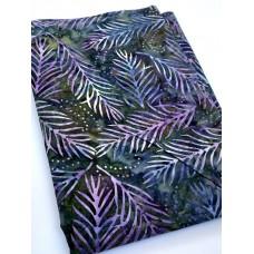 BOLT END - Wilmington Batavian Batik 22191-476 Pink Fronds on Dark Blue Brown - 39 Inches