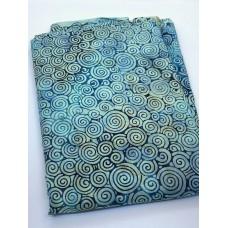 BOLT END - Timeless Treasures Tonga Batik B4353 Scuba - Teal Circles - 1 yd 25 Inches