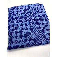 REMNANT - Batik Textiles 5612- Blue Houndstooth-  Fat 1/8