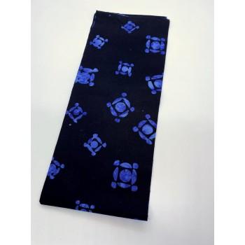 REMNANT - Batik Textiles 5614 - Blue Geometric on Black - 1/8 yd