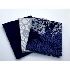 Three Batik Fat Quarters 326C - Blue & Grey Tones