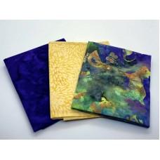 Three Batik Fat Quarters 319C - Purple Yellow Green Farm Animals