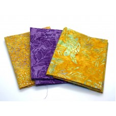 Three Batik Fat Quarters 327C - Orange & Purple Tones