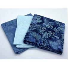 Batik One Third Yard Bundle OT320 - Blue & Turquoise Tones - 1 Yard Total