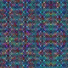 QT Fabrics - Digital - Radiance 27405-J Geometric Circles on Blue Multicolor
