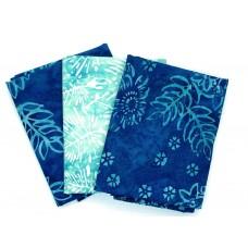 Batik Half Yard Bundle HY367 - Turquoise Tones - 1 1/2 Yards Total