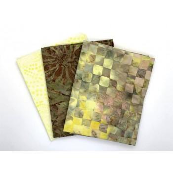 Three Batik Fat Quarters 385B - Yellow and Brown Tones