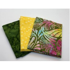 Three Batik Fat Quarters 388B - Pink, Yellow and Green Tones