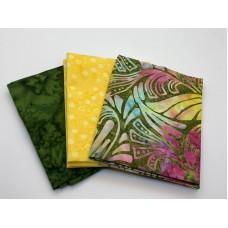 Three Batik Fat Quarters 388B - Pink, Yellow and Green Tones