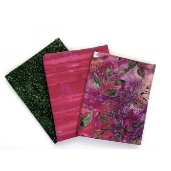 Batik Half Yard Bundle HY369 - Green Pink Tones - 1.5 Yards Total