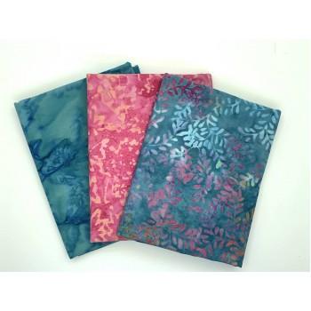 Batik Half Yard Bundle HY371 - Pink Turquoise Tones - 1.5 Yards Total