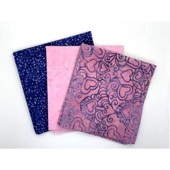 Batik One Third Yard Bundle OT301 - Pink & Blue Tones - 1 Yard Total