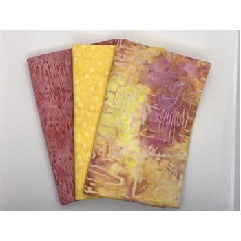 3 Yard Batik Bundle 3YD123 - Yellow Peach Pink