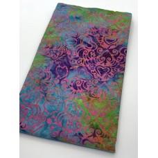BOLT END - Island Batik 1112014883 - 70s Vibe Pattern on Green Purple Turquoise - 1/2 yd