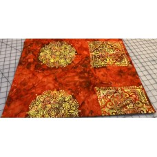 BOLT END - Hoffman Batik Orange Emblems - 1 yd