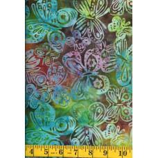 Michael Miller Batik BT8507-AMBE - Green, Gold, Rust & Turquoise Butterflies