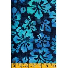 Michael Miller Batik BT8511-INDI - Blue & Turquoise Hibiscus