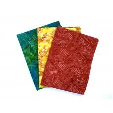 Three Batik Quarter Yard QY301 - Orange Yellow Green Tones