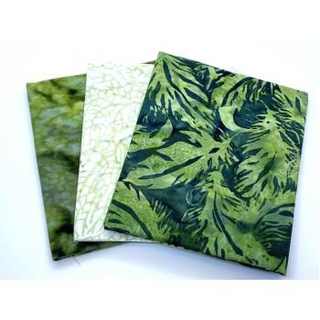 Three Batik Fat Quarters 399B - Green & White Tones