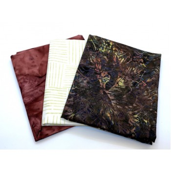 Three Batik Fat Quarters 312B - Brown Cream & Red Tones