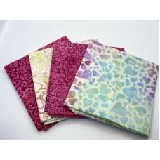 Batik One Third Yard Bundle OT407 - Pink Turquoise & Cream Tones - 1 Yard Total