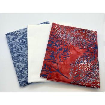 Three Batik Fat Quarters 316C - Red Gray White Tones
