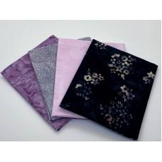 Four Batik Fat Quarters 410A - Pink Grey Lavender Tones