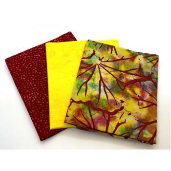 Three Batik Fat Quarters 315C - Yellow & Red Tones