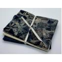 Three Batik Fat Quarters 300C - Grey Cream & Dark Teal Tones