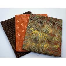 Three Batik Fat Quarters 398B - Brown Orange Tones