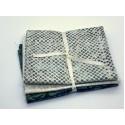 Three Batik Fat Quarters 303C - Cream & Teal Tones
